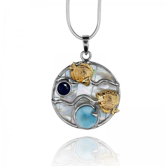 [KPG16-LAR-LAP] Round shape Larimar stone , Lapis Lazuli ,fish couple , mother of pearl pendant