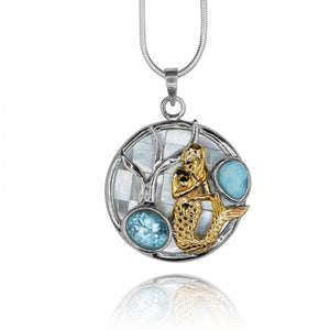 [KPG17-LAR] Round shape larimar with swiss blue topaz , mermaid , round mother of pearl pendant