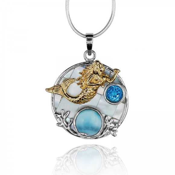 [KPG18-LAR] Round shape larimar with swiss blue topaz , mermaid , round mother of pearl pendant