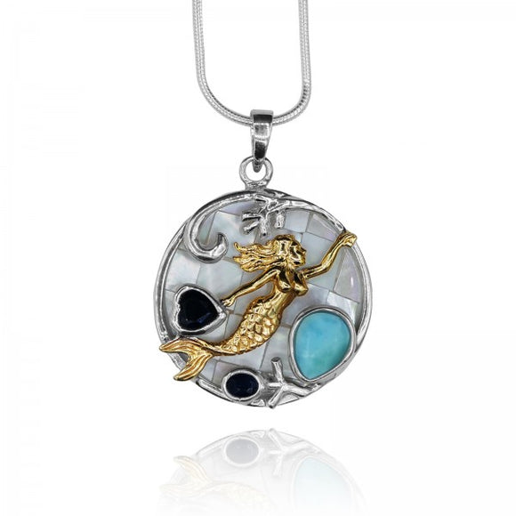 [KPG2-LAR-LAP-LAP] Drop shape larimar and heart shape Lapis Lazuli mermaid round mosaic other of pearl pendant