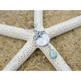 [KPG22-LAR] Pear shape larimar , blue topaz , star fish , round mother of pearl pendant