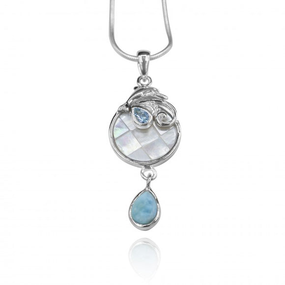 [KPG27-LAR] Pear shape larimar , swiss blue topaz , Dolphin , mother of pearl pendant