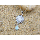 [KPG28-LAR] Round shape larimar , blue topaz , mother of pearl sea Dolphin pendant