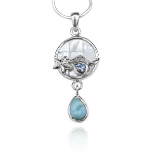 [KPG30-LAR] Round shape larimar , blue topaz , mother of pearl sea nautical pendant