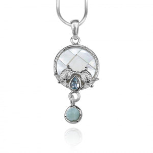 [KPG31-LAR] Round shape larimar , blue topaz , mother of pearl sea turtle pendant