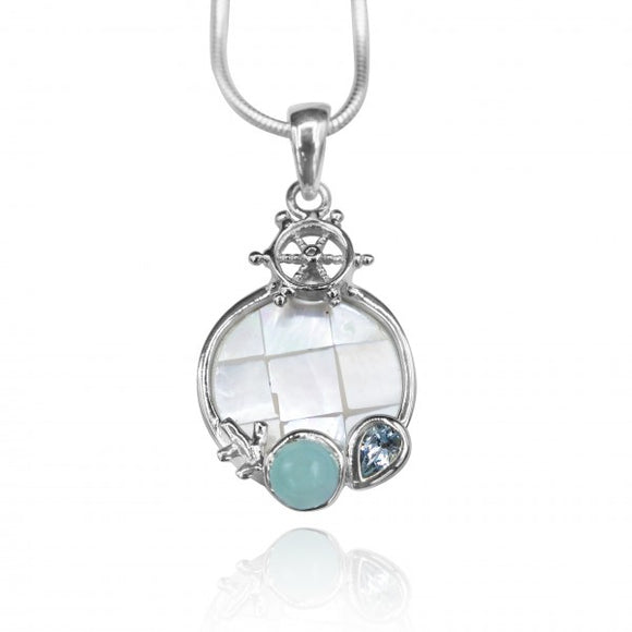 [KPG32-LAR] Round shape larimar , blue topaz , mother of pearl sea nautical pendant