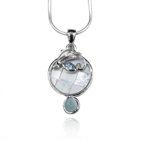 [KPG33-LAR] Round shape larimar , blue topaz , mother of pearl sea Dolphin pendant