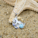 [KPG4-LAR] Larimar and Blue Topaz ,jelly fish , round mosaic Mother of pearl pendant .