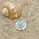 [KPG6-LAR] Round Larimar , two oval London blue Topaz stones , double whale tale round Mother of pearl pendant