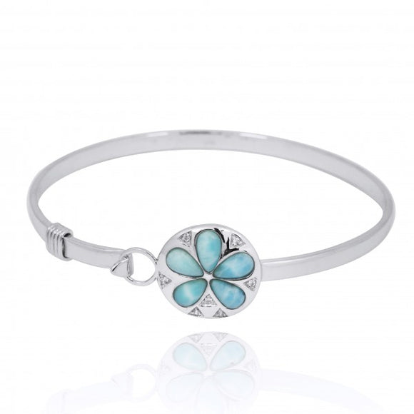 [NB1458-LAR-WHCZ] Sterling Silver Silver Sand Dollar with Larimar and White CZ Bangle