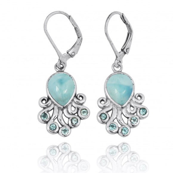 [NEA2792-LAR-SWBLT] Sterling Silver Octopus with Larimar and Swiss Blue Topaz Lever Back Earrings
