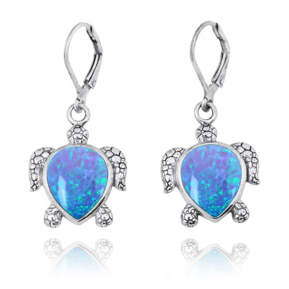 [NEA2793-BLOP] Sterling Silver Turtle Lever Back Earrings with Simulated Blue Opal