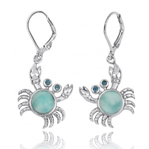 [NEA2794-LAR-LBLT] Sterling Silver Crab with Larimar and London Blue Topaz Lever Back Earrings