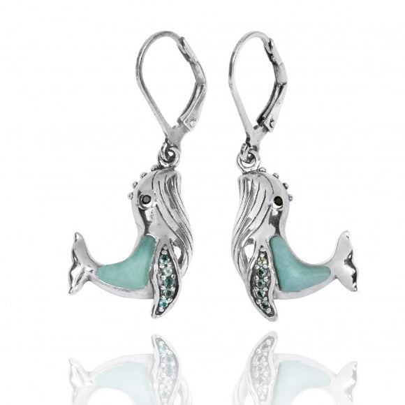 [NEA2795-LAR-SWBLT-BKSP] Sterling Silver Whale with Larimar, London Blue Topaz and Black Spinel Lever Back Earrings