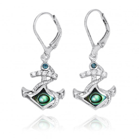 [NEA3138-ABL-LBLT] Sterling Silver Anchor with Abalon and London Blue Topaz Lever Back Earrings