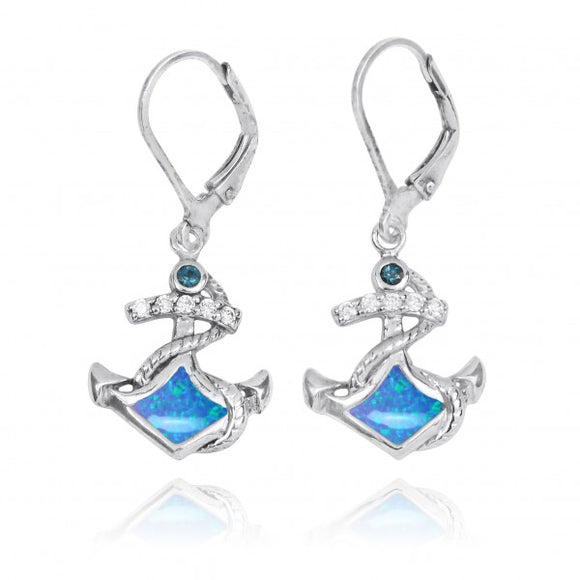 [NEA3138-BLOP-LBLT] Sterling Silver Anchor with Simulated Blue opal and London Blue Topaz Lever Back Earrings