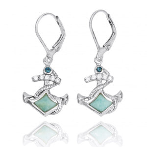 [NEA3138-LAR-LBLT] Sterling Silver Anchor with Larimar and London Blue Topaz Lever Back Earrings