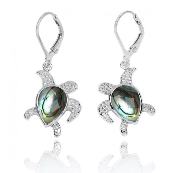 [NEA3139-ABL] Sterling Silver Turtle with Teardrop Abalon shell Lobster Clasp Earrings