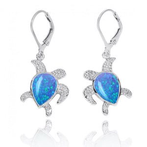 [NEA3139-BLOP] Sterling Silver Turtle with Teardrop Simulated Blue Opal Lobster Clasp Earrings
