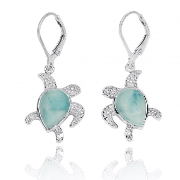 [NEA3139-LAR] Sterling Silver Turtle with Teardrop Larimar Lobster Clasp Earrings