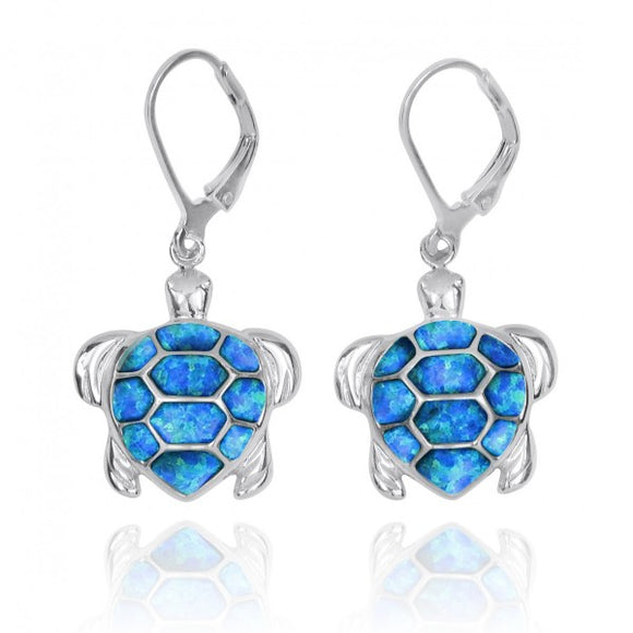 [NEA3140-BLOP] Sterling Silver Turtle with Simulated Blue Opal Lever Back Earrings
