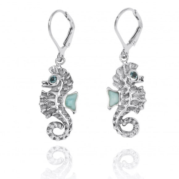 [NEA3141-LAR-LBLT] Sterling Silver Seahorse Lobster Clasp Earrings with Larimar and London Blue Topaz