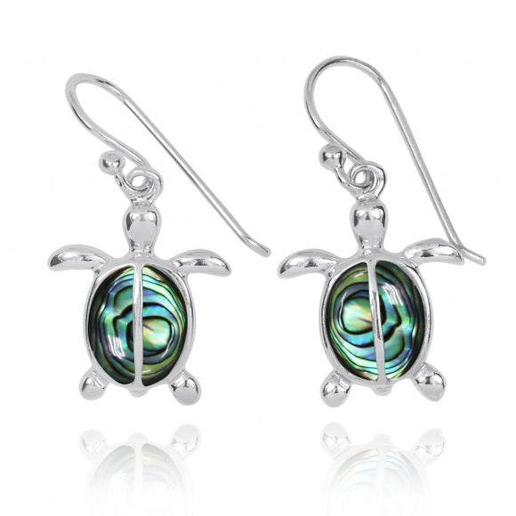 [NEA3183-ABL] Sterling Silver Turtle French Wire Earrings with 2 Abalon shell Stones
