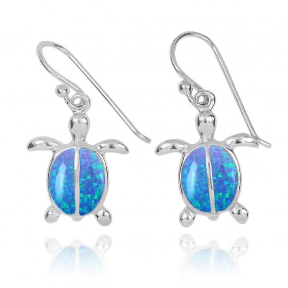 [NEA3183-BLOP] Sterling Silver Turtle French Wire Earrings with 2 Simulated Blue Opal Stones