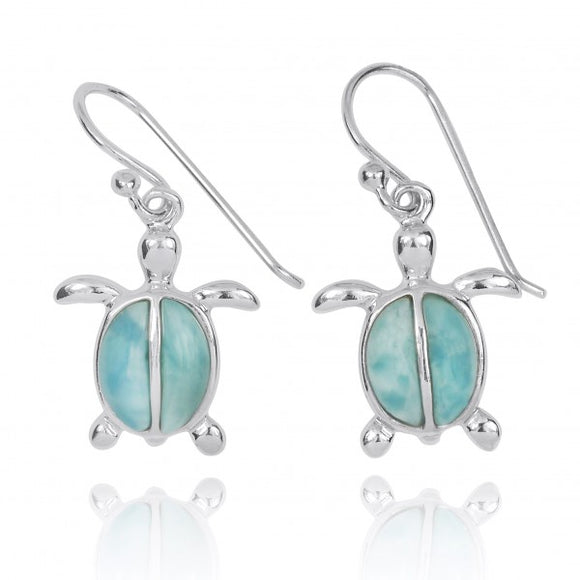 [NEA3183-LAR] Sterling Silver Turtle French Wire Earrings with 2 Larimar Stones