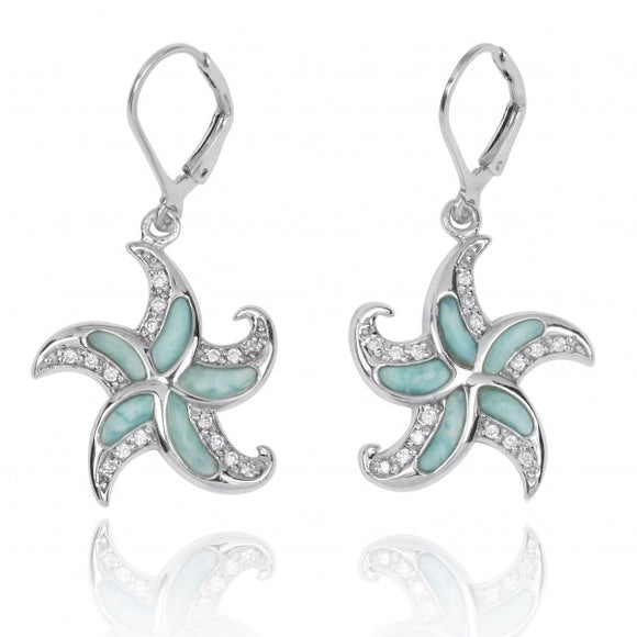 [NEA3222-LAR-WHCZ] Starfish Lever Back Earrings with Larimar and White CZ