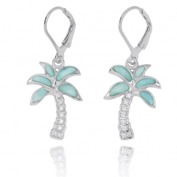 [NEA3223-LAR-WHCZ] Sterling Silver Palm Tree with Larimar and White CZ Lever Back Earrings