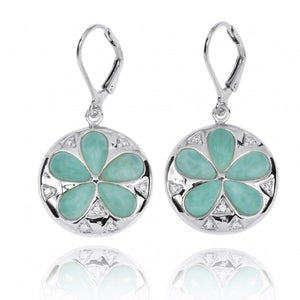 [NEA3224-LAR-WHCZ] Sand Dollar Lever Back Earrings with Larimar and White CZ