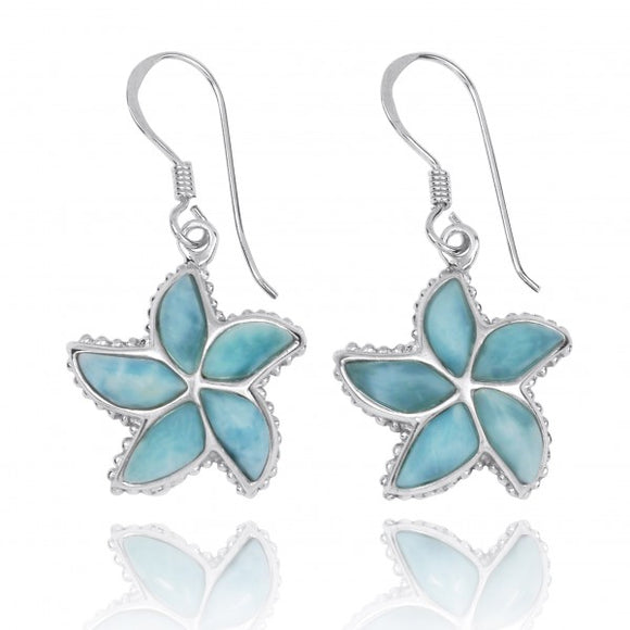 [NEA3239-LAR] Larimar Starfish French Wire Earrings
