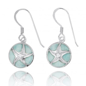 [NEA3242-LAR-CRS] Silver Starfish with Crystal on Larimar French Wire Earrings
