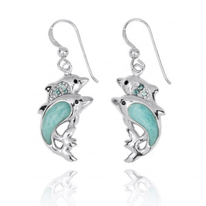 [NEA3243-LAR-SWBLT-BKSP] Sterling Silver Dolphin Drop Earrings with Larimar and Swiss Blue Topaz
