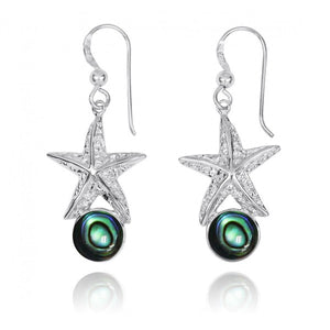 [NEA3244-ABL] Sterling Silver Starfish French Wire Earrings with Round Abalon shell