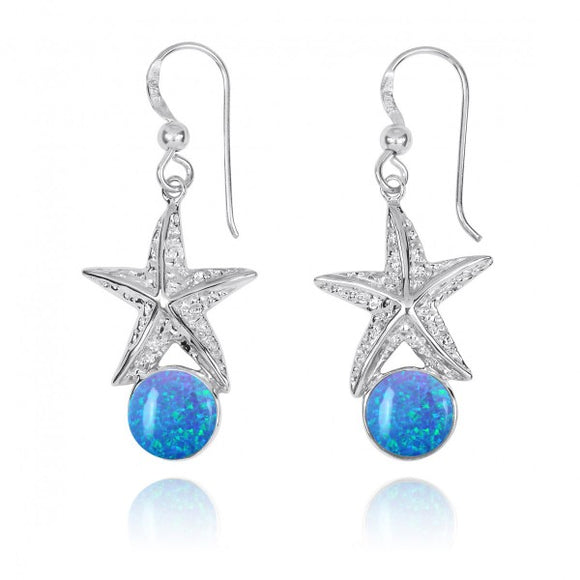 [NEA3244-BLOP] Sterling Silver Starfish French Wire Earrings with Round Simulated Blue Opal