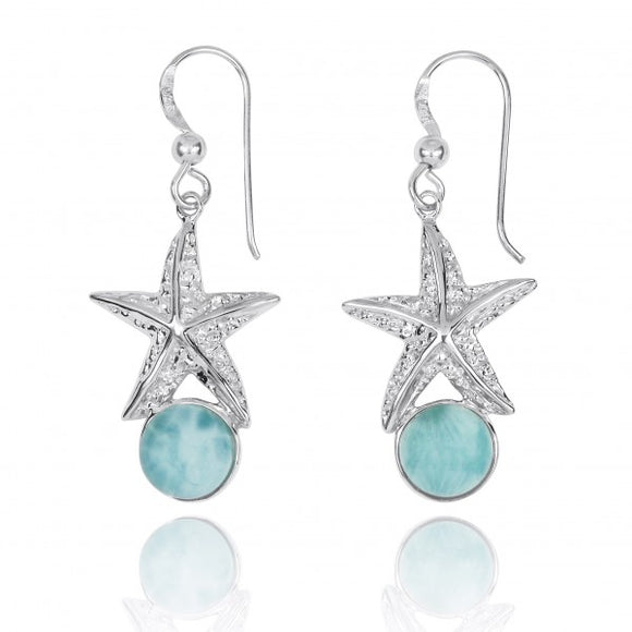 [NEA3244-LAR] Sterling Silver Starfish French Wire Earrings with Round Larimar