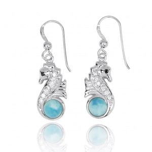[NEA3245-LAR-BKCZ-WHCZ] Sterling Silver Seahorse Drop Earrings with Larimar and CZ