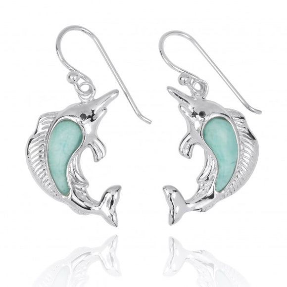 [NEA3248-LAR-BKCZ] Sterling Silver Swordfish with Larimar and Black CZ French Wire Earrings