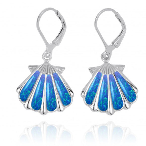 [NEA3254-BLOP] Sterling Silver Shell with Simulated Blue Opal Lever Back Earrings