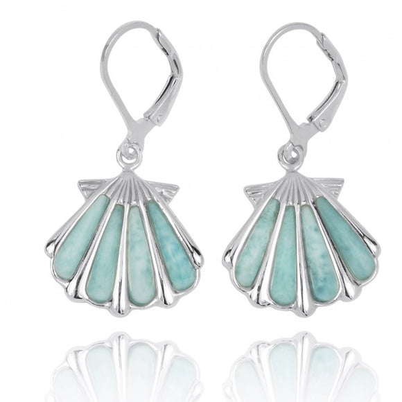 [NEA3254-LAR] Sterling Silver Shell with Larimar Lever Back Earrings