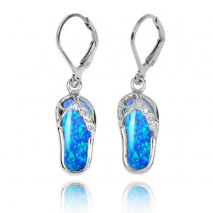 [NEA3255-BLOP-CRS] Sterling Silver Sandal Lobster Clasp Earrings with Simulated Blue opal and Crystal