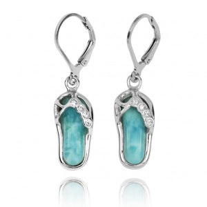 [NEA3255-LAR-CRS] Sterling Silver Sandal Lobster Clasp Earrings with Larimar and Crystal