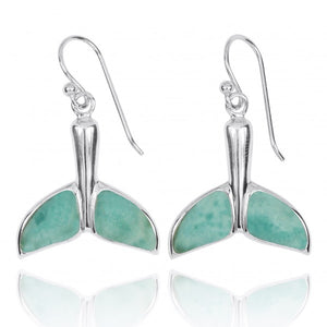 [NEA3316-LAR] Sterling Silver Whale Tale with Larimar French Wire Earrings