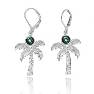 [NEA3320-ABL-WHT] Sterling Silver Palm Tree with Abalon and White Topaz Lever Back Earrings