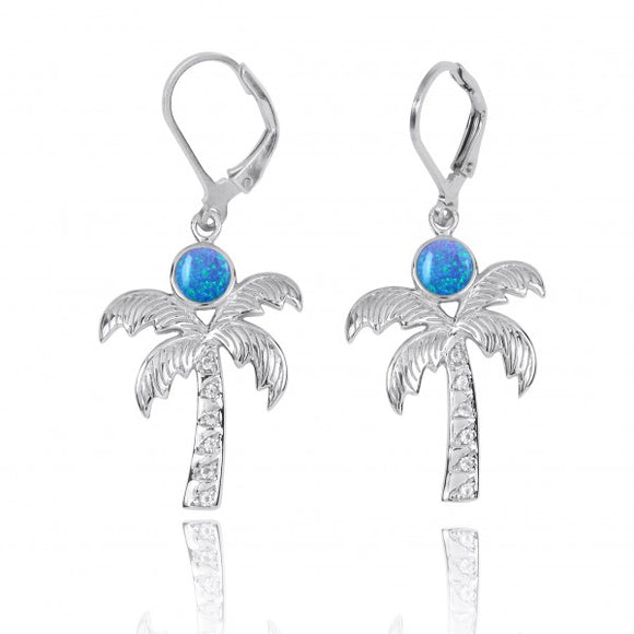 [NEA3320-BLOP-WHT] Sterling Silver Palm Tree with Simulated Blue opal and White Topaz Lever Back Earrings