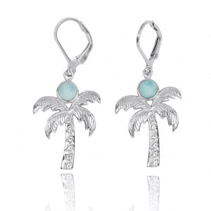 [NEA3320-LAR-WHT] Sterling Silver Palm Tree with Larimar and White Topaz Lever Back Earrings