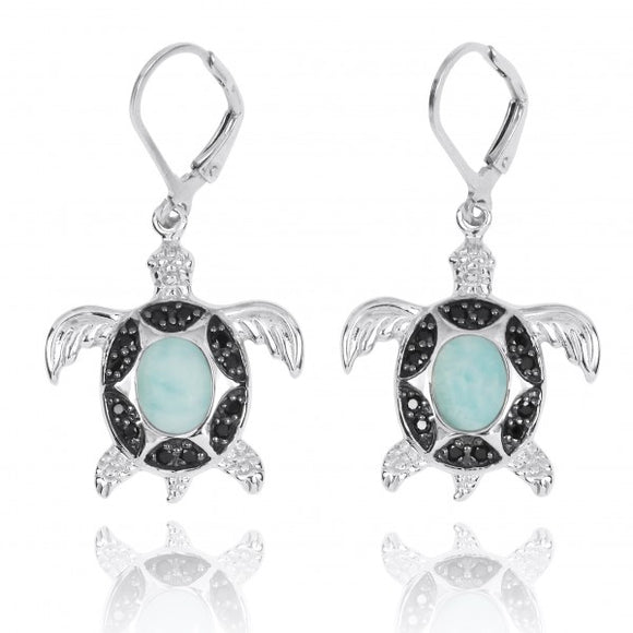 [NEA3321-LAR-BKSP] Sterling Silver Turtle with Larimar and Black Spinel Lever Back Earrings