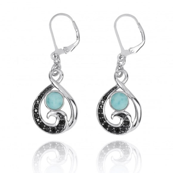 [NEA3322-LAR-BKSP] Black Spinel Wave and Round Larimar Sterling Silver Lever Back Earrings